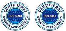 ISO Certifierade 9001:2015 & 14001:2015